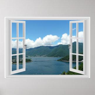 Pôster Cena da janela do falso do lago mountain