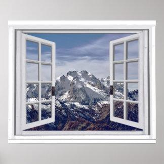 Poster Cena tampada neve da janela do falso dos picos de