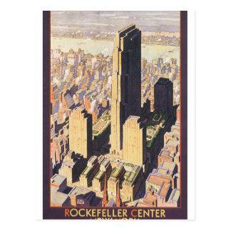 Poster Center das viagens vintage de Rockefeller Cartão Postal