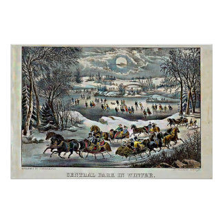 Poster Central Park no Currier & no Ives do inverno