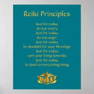 Pôster Cerceta dos princípios de Reiki/ouro Lotus