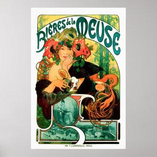 Pôster Cerveja das belas artes de Meuse Alphonse Mucha