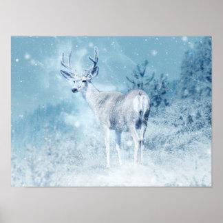 Pôster Cervos e pinheiros do inverno