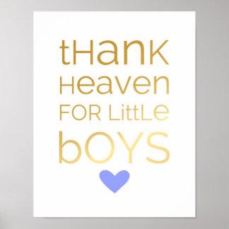 Poster Céu para rapazes pequenos - azul do obrigado -