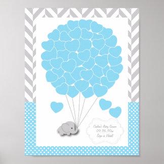 Poster Chá de fraldas cinzento azul, branco 2 do elefante