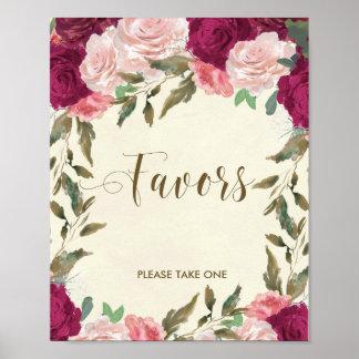 Poster Chá de panela wedding do sinal dos favores floral