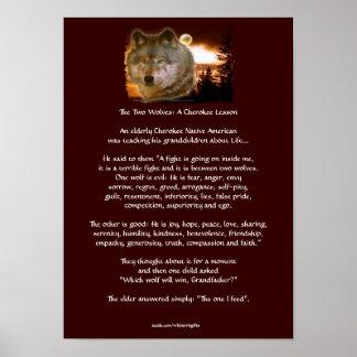Poster Cherokee da arte do lobo do conto de dois