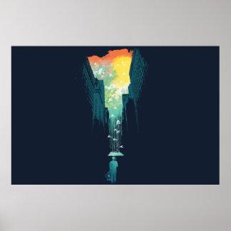 Poster chuvoso das belas artes do céu azul