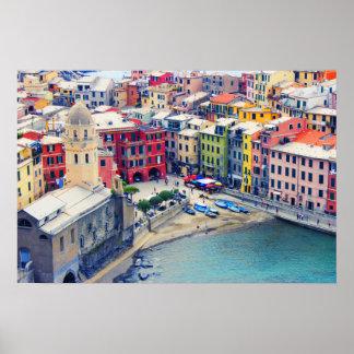 Pôster Cidade colorida de Vernazza Italia