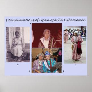 Pôster Cinco gerações de mulheres do tribo de Lipan