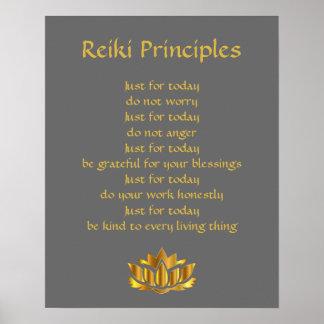 Poster Cinza e ouro dos princípios de Reiki
