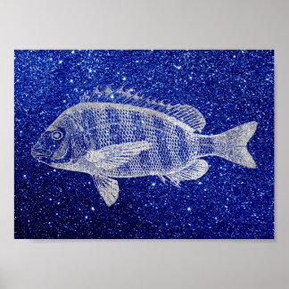 Pôster Cinzas de prata de azul de oceano do mar dos