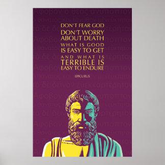 Pôster Citações de Epicurus: Não tema o deus