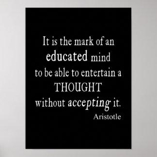 Poster Citações educadas Aristotle do pensamento da mente