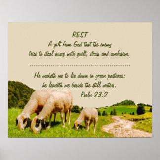 Pôster Citações inspiradas do 23:2 do salmo do resto