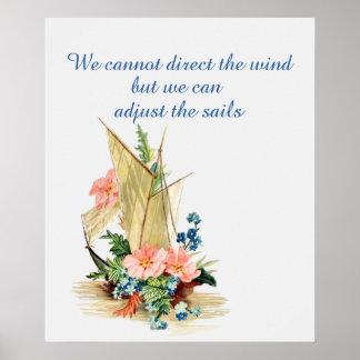 Poster Citações inspiradores com veleiro do vintage