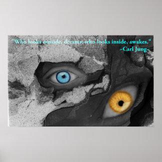 Poster Citações multimídia de Jung da arte de dois olhos
