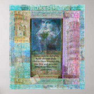 Poster Citações românticas de Shakespeare de Romeo e de