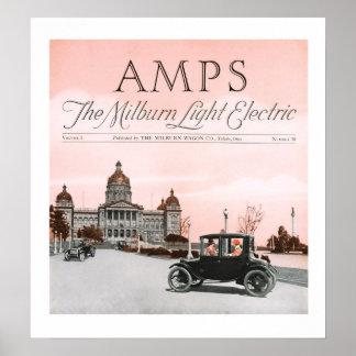 Poster claro do carro elétrico de Milburn