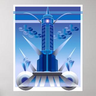 Poster clássico da construção da cidade do art