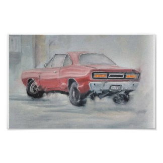 Poster clássico do carro do óleo abstrato