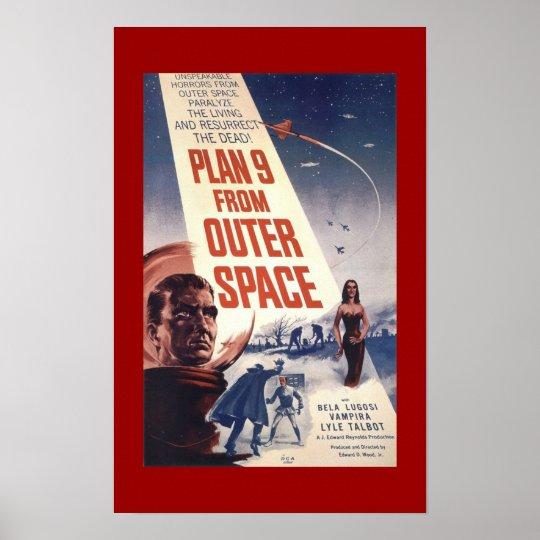 """Poster clássico """"plano 9 do filme do espaço """""""