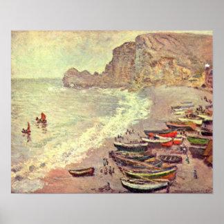 Pôster Claude Monet - etretat-praia e dAmont de Porte