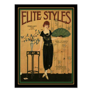 Poster Cobrir 12 x 16 do art deco 1920 dos estilos da