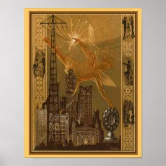 Poster Cobrir 1926 da emissão de rádio do art deco 11x14
