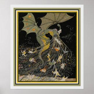 Pôster Cobrir do dragão de Nouveau da arte para Jugend