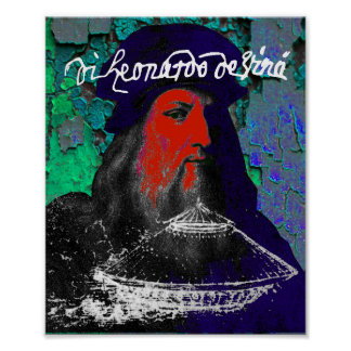 Pôster Colagem dos meios mistos do gênio de Leonardo da