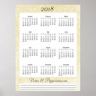 Poster colorido creme do calendário 2018