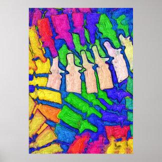 Poster colorido da arte da espinha