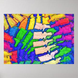 Poster colorido da arte da espinha (horizontal) pôster