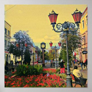 Poster colorido da paisagem urbana