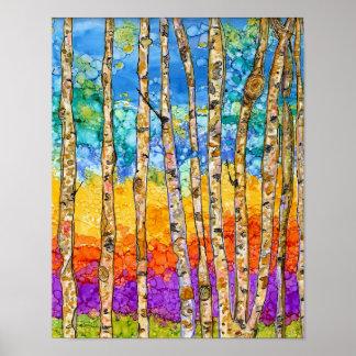 """Poster colorido das árvores de Aspen - 11"""" x14 """""""