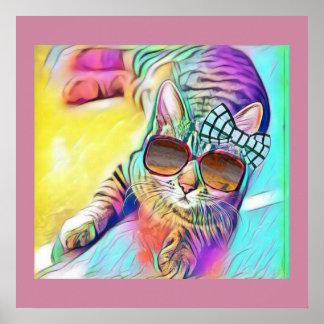 Poster colorido do gato