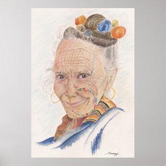 Poster com arte original da mulher Himalaia idosa