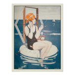 Poster com ilustração francesa do verão do vintage
