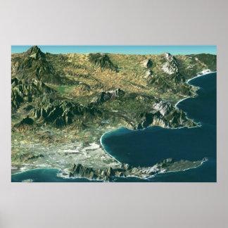 Poster com imagem satélite sobre Cape Town Pôster