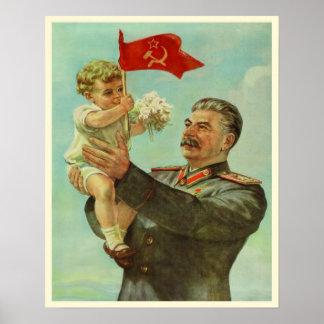 Poster com impressão da propaganda de Stalin do vi