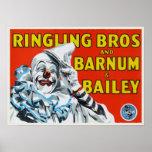 Poster com impressão do palhaço de circo do vintag