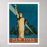 Poster com impressão do poster de New York do vint