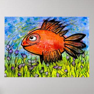 Poster com os peixes grandes vermelhos