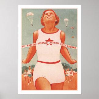 Poster com propaganda de União Soviética do vintag Pôster