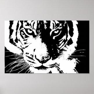 Poster com um tigre preto e branco do impressão
