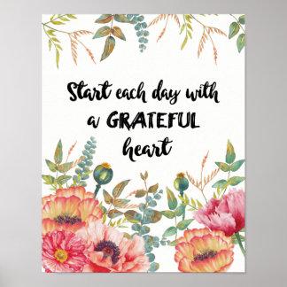 Poster Comece cada dia com um coração grato