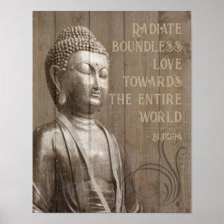 Pôster Compartilhe das citações de madeira budistas de