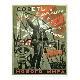 Poster comunista da propaganda do russo cartão postal