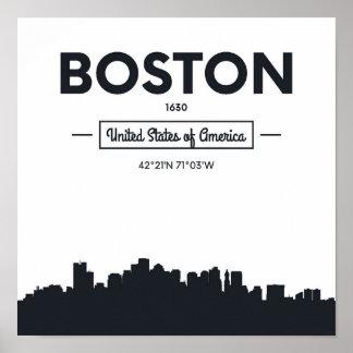 Pôster Coordenadas da cidade de Boston, Massachusetts  